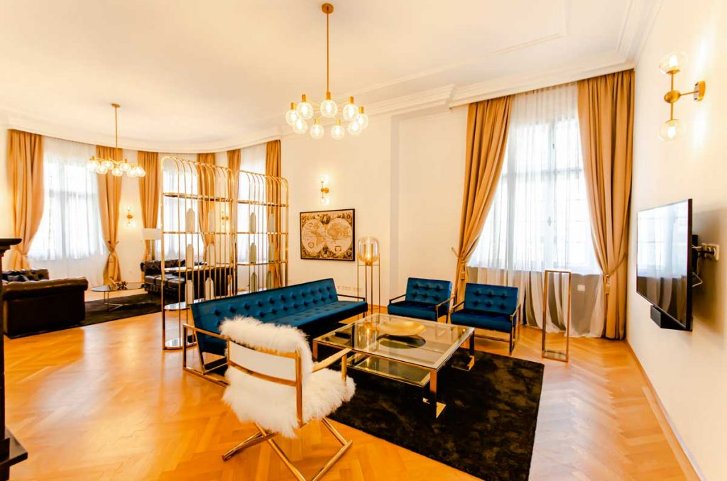 The living room of one of our beautiful furnished 5 room apartment in the embass