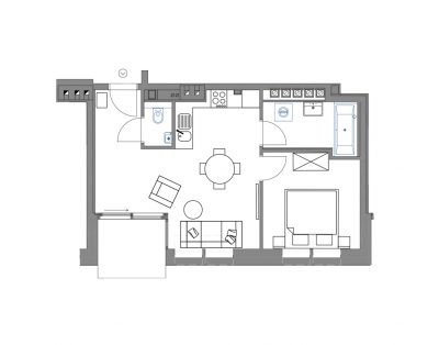 Central apartment with floor cooling system